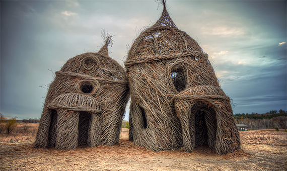arty house made of sticks