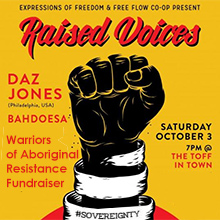 environmental events - Raised Voices Fundraiser for Warriors of Aboriginal Resistance